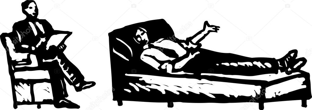 Couch clipart therapist. Man on talking to