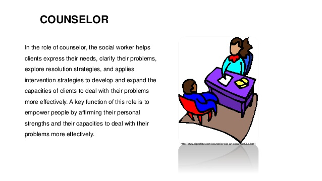 Therapist clipart social work. Roles of workers counselor