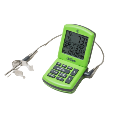 Thermometer clip probe. On thermometers for meat