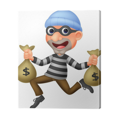 Thief vector bag. Carrying of money with