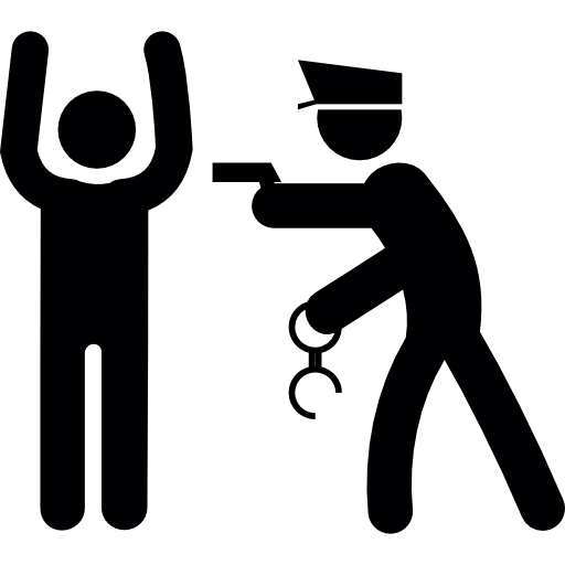 Thief vector policeman. With a robber icons