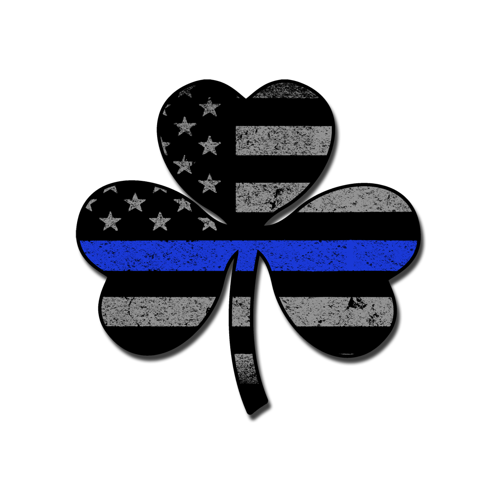 Thin blue line png. Shamrock flag decal warrior