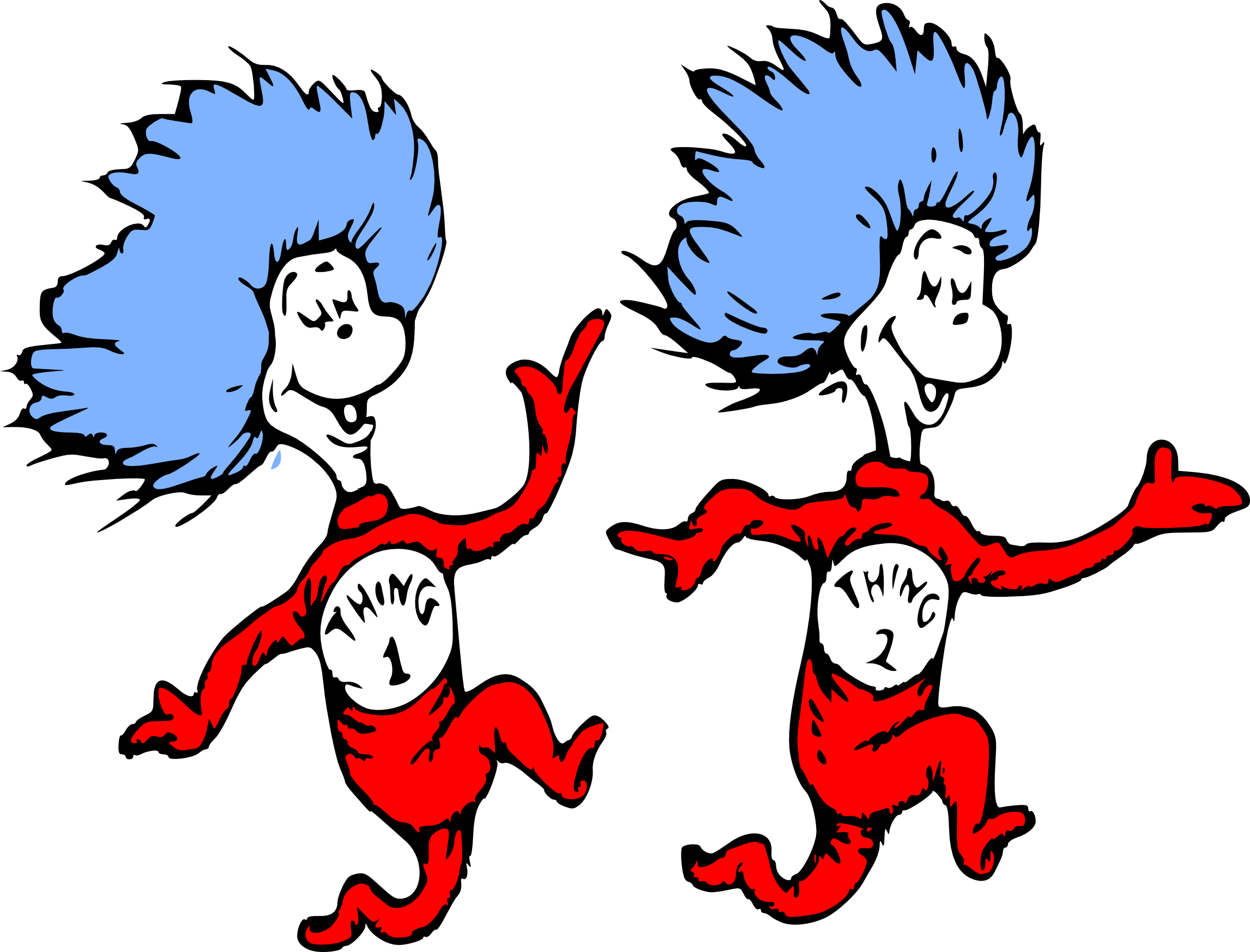 Thing 1 and thing 2 png. Wall dr seuss character