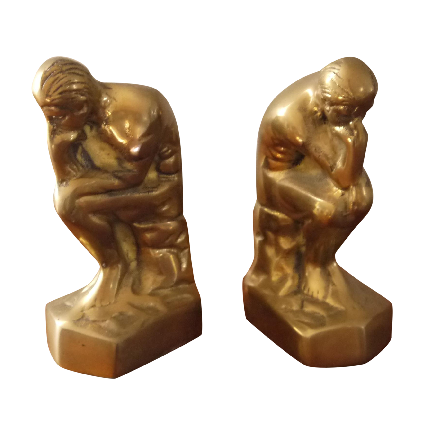 Thinking man statue png. Brass bookends on chairish