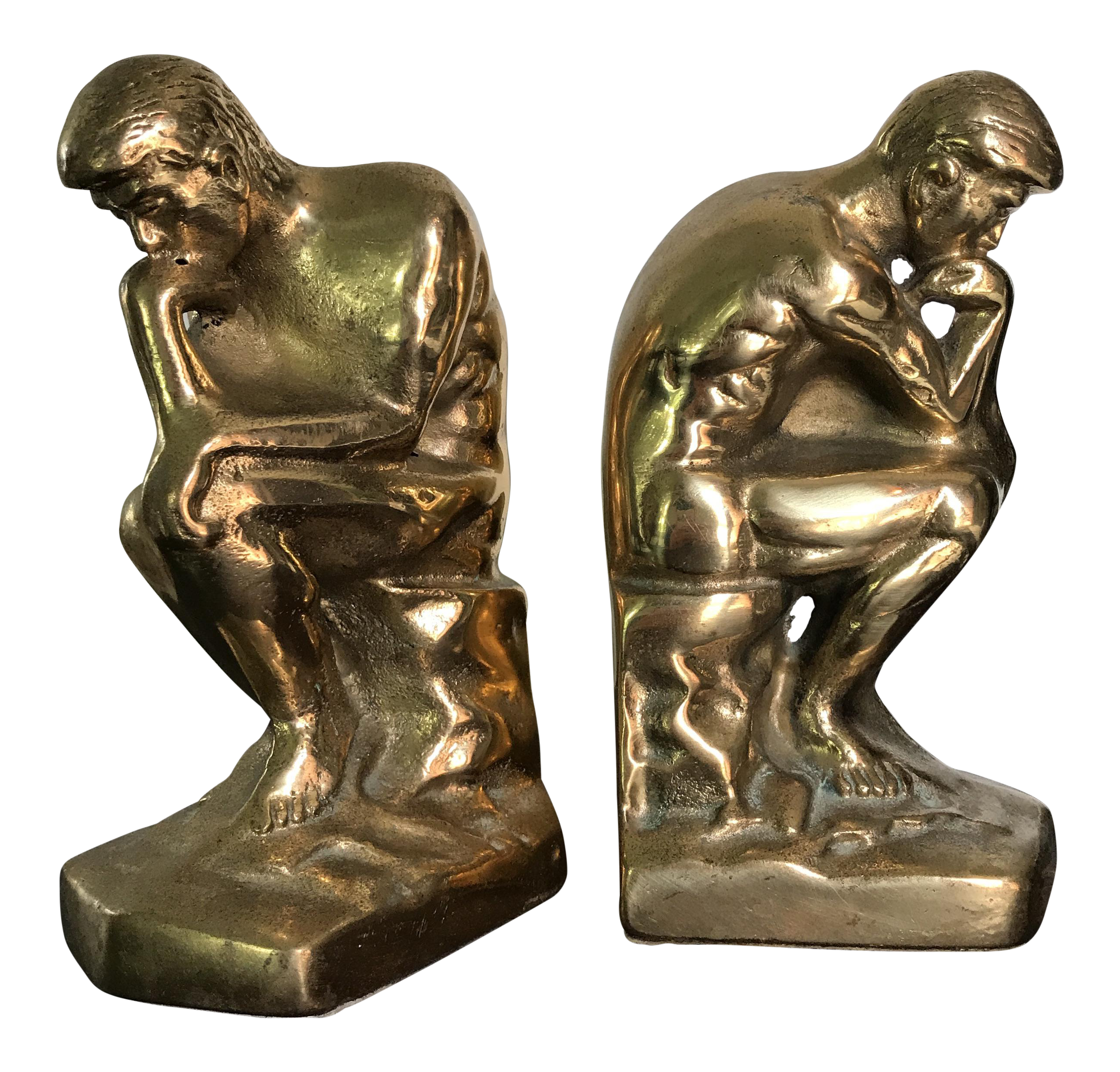 Thinking man statue png. Vintage solid brass bookends