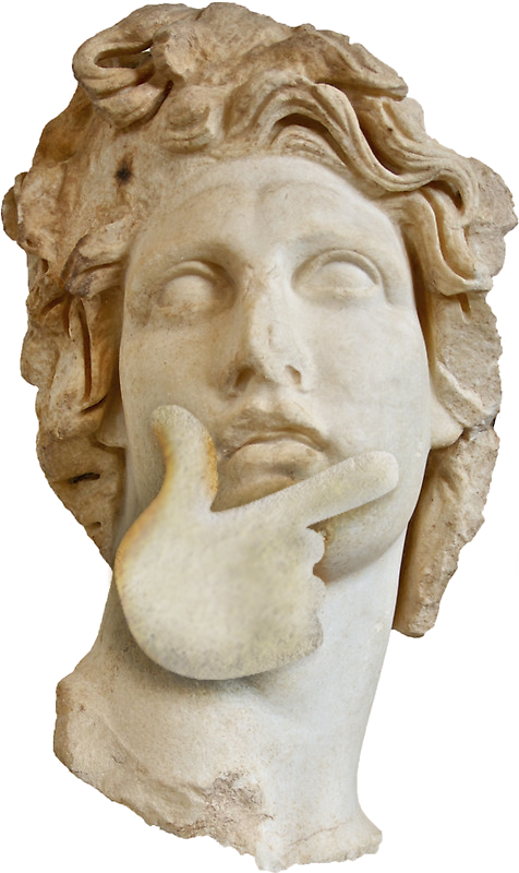 Thinking statue png. Aesthetic