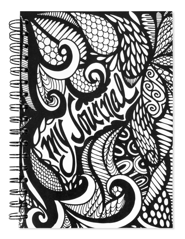 My journal black and. Tangle drawing pattern inside vector