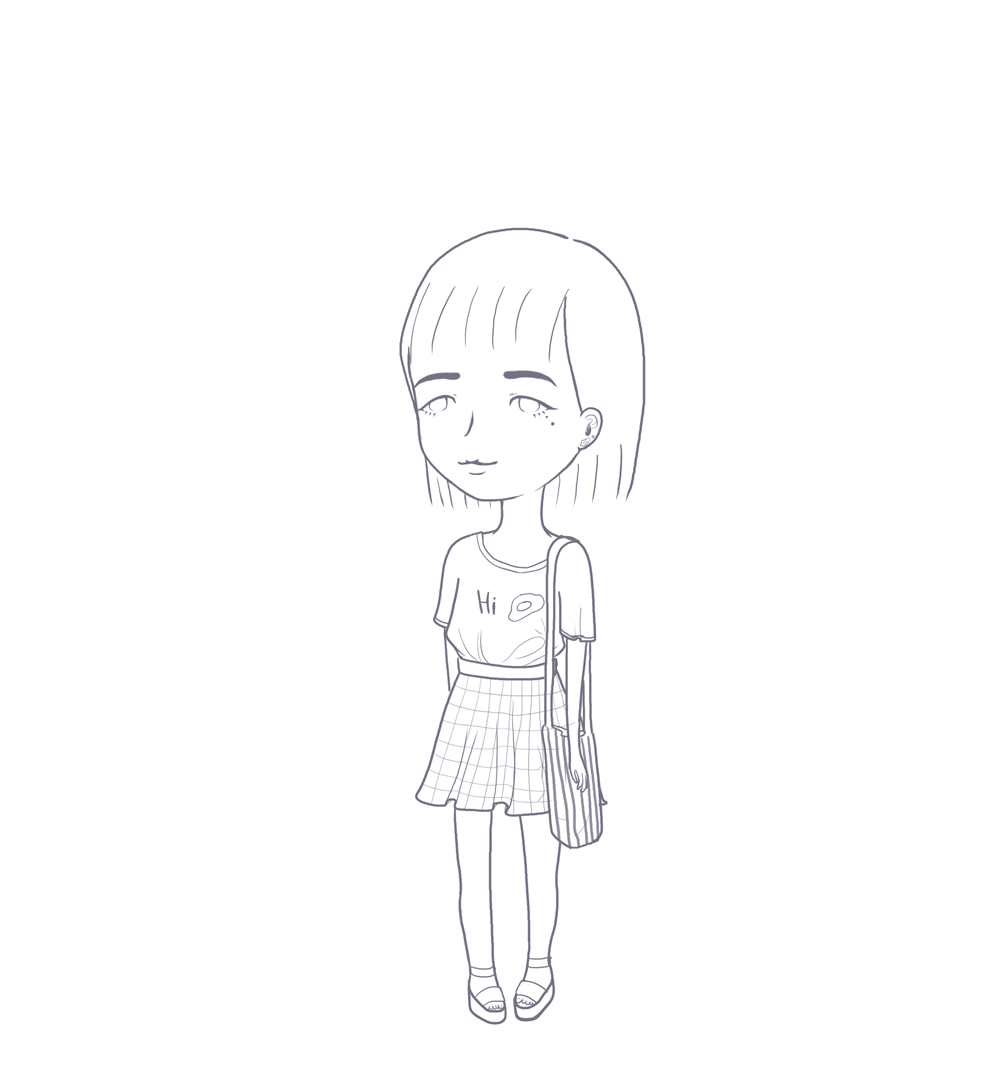 Drawing digital aesthetic. Lineart blogger by shortiepower