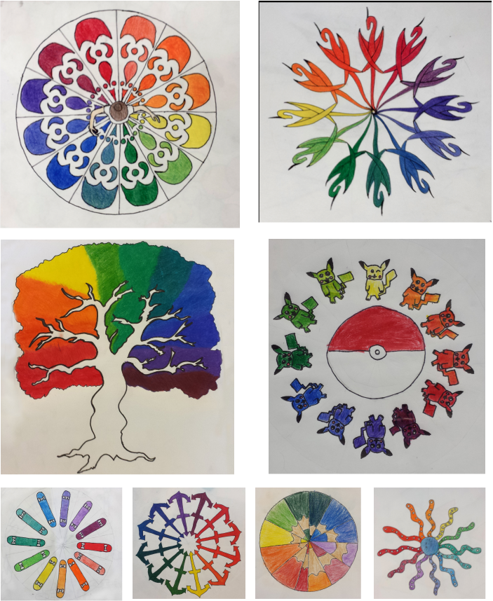 Thoughts drawing colorful. Creative color wheel designs