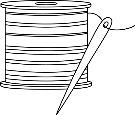 Threads drawing coloring page. Black and white needle
