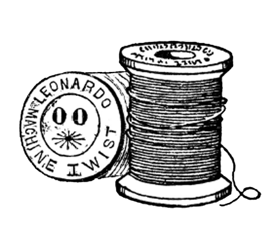 Threads drawing cotton reel. Free vintage digital stamps