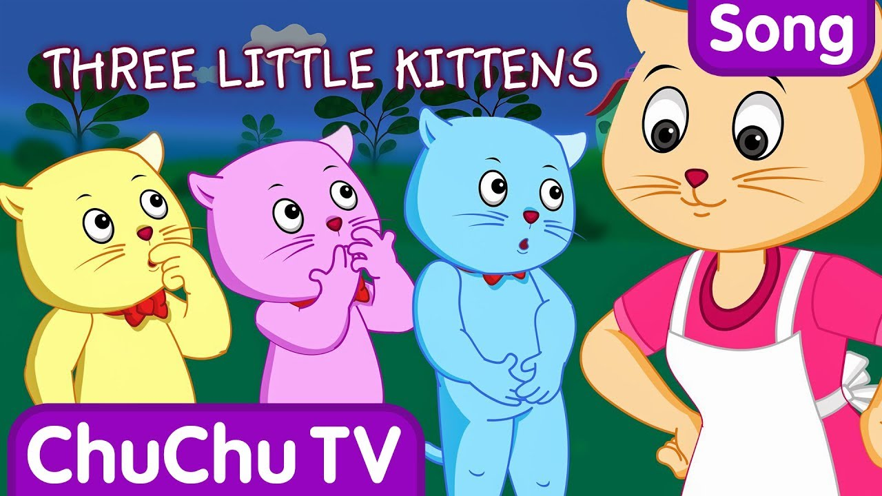Three little clipart little kittens. Nursery rhymes from chuchu