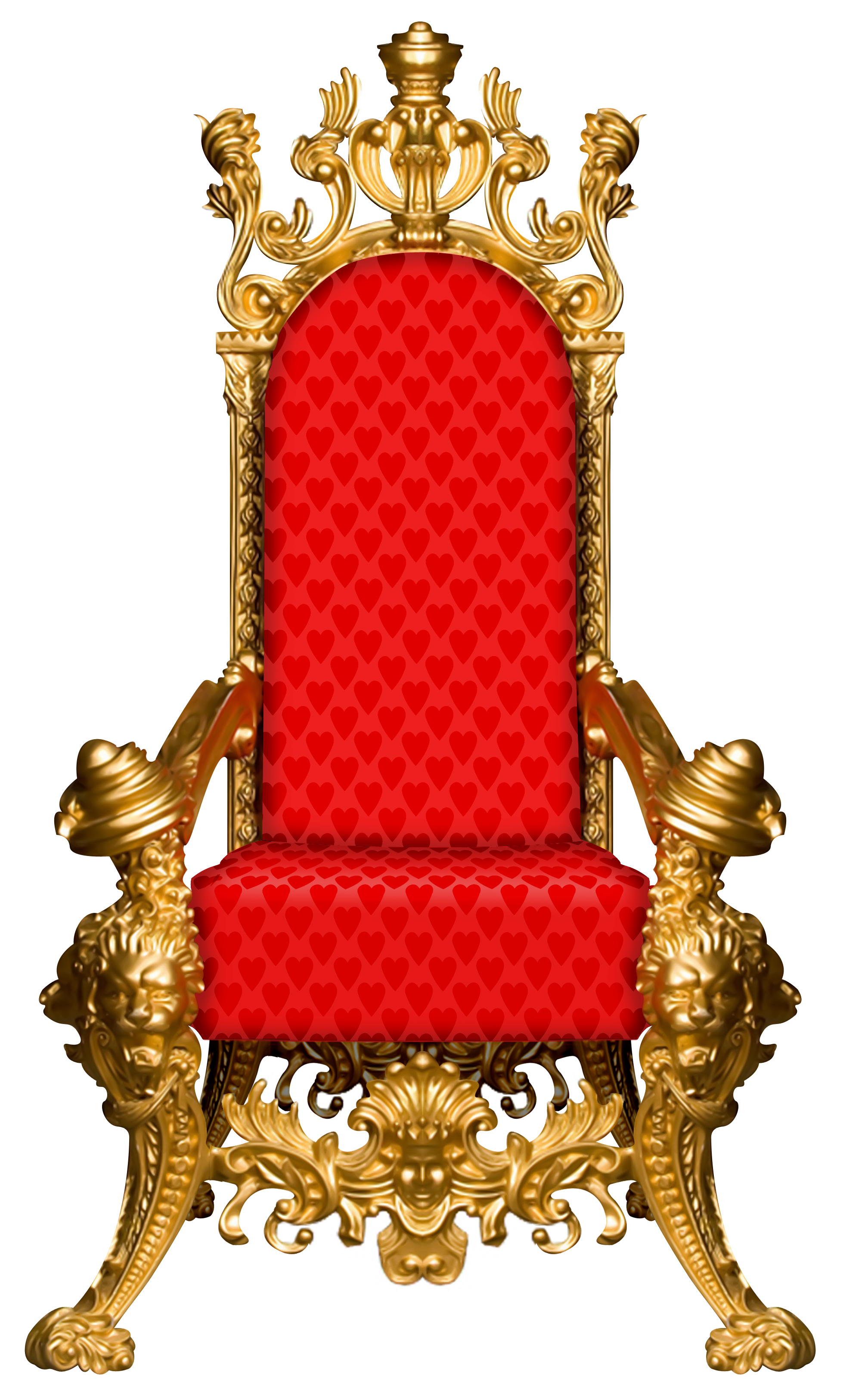 Throne chair png. Red gold furniture fairy