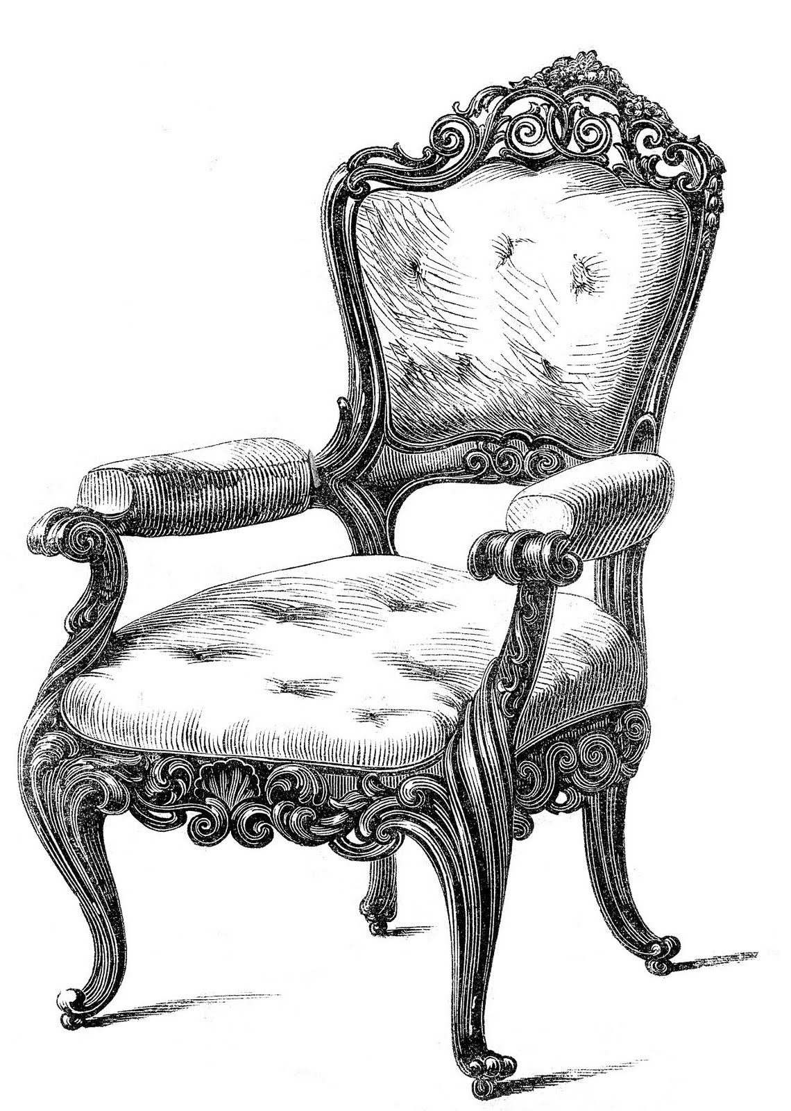 Throne clipart fancy chair. Vintage clip art chairs