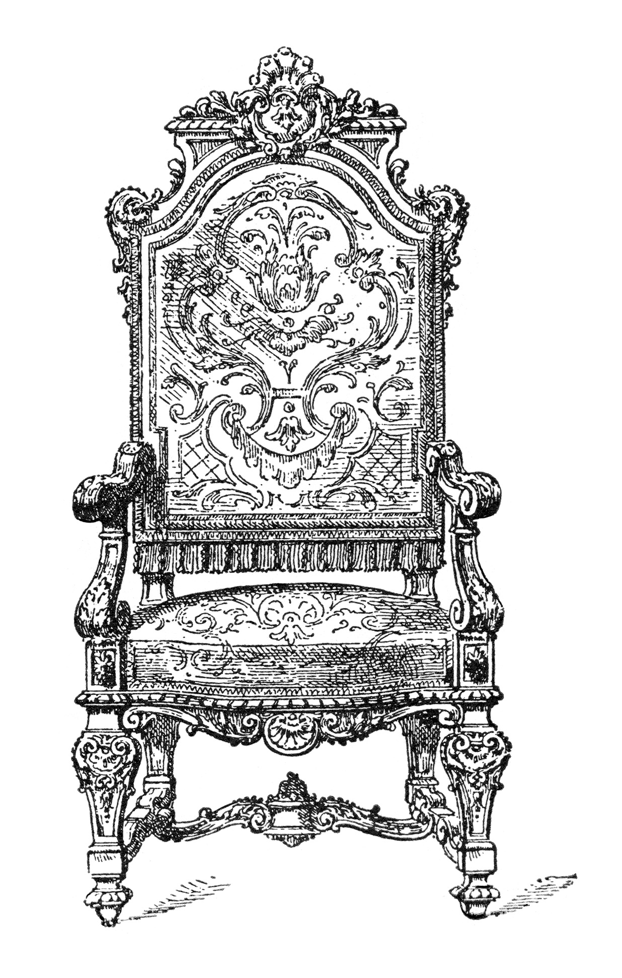 Throne clipart fancy chair. Free vintage image ornate