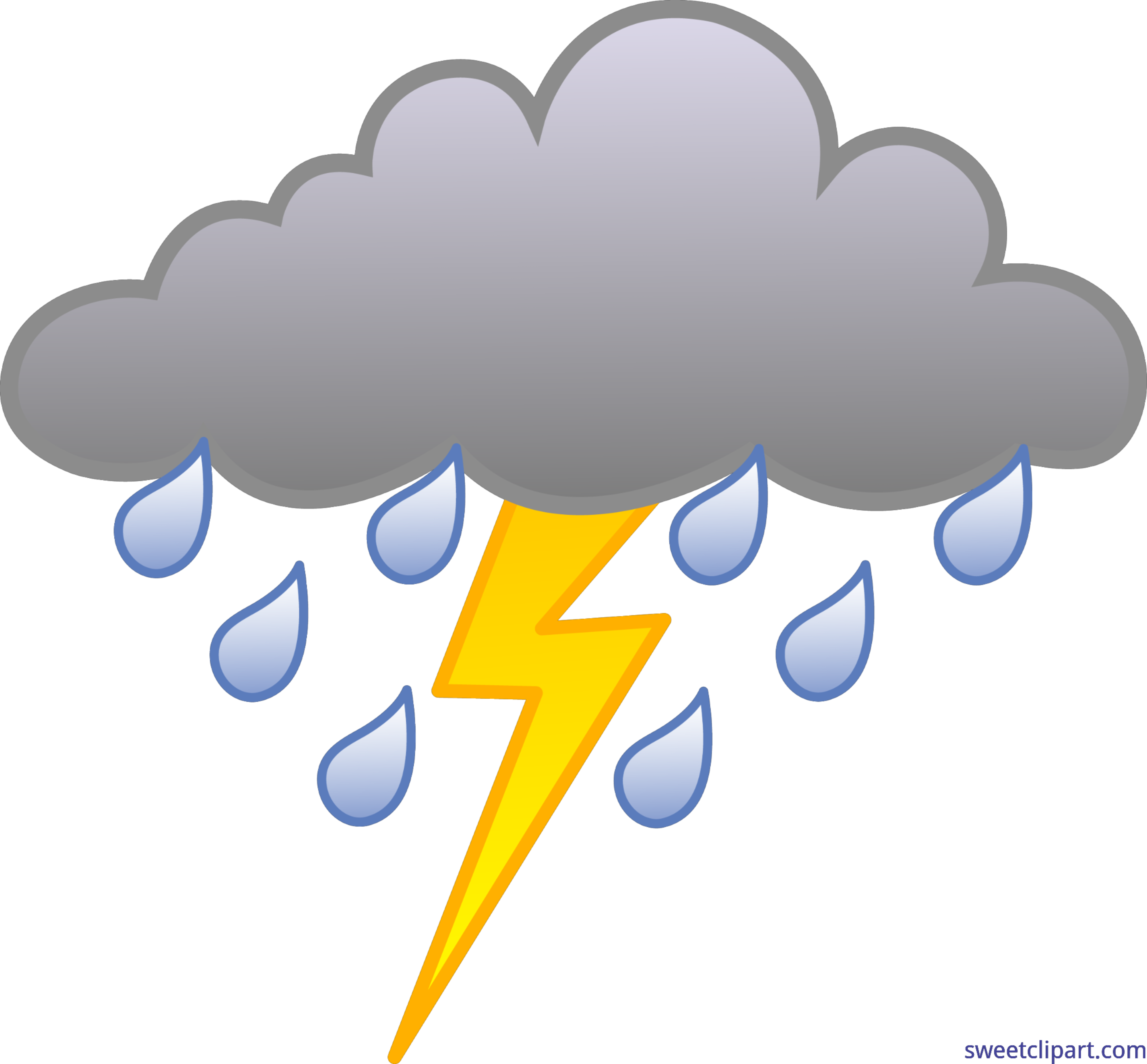 Thunder clipart. Rainy weather with clip