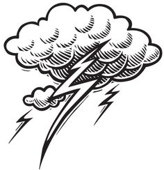 Thunderstorm clipart black and white. Thunder lightning drawing at