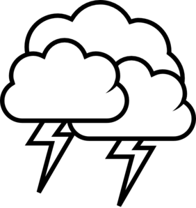 Thunderstorm clipart black and white. Pencil in color
