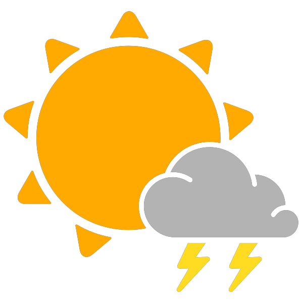 Thunderstorm clipart thunderstorm weather. Simple icons scattered thunderstorms