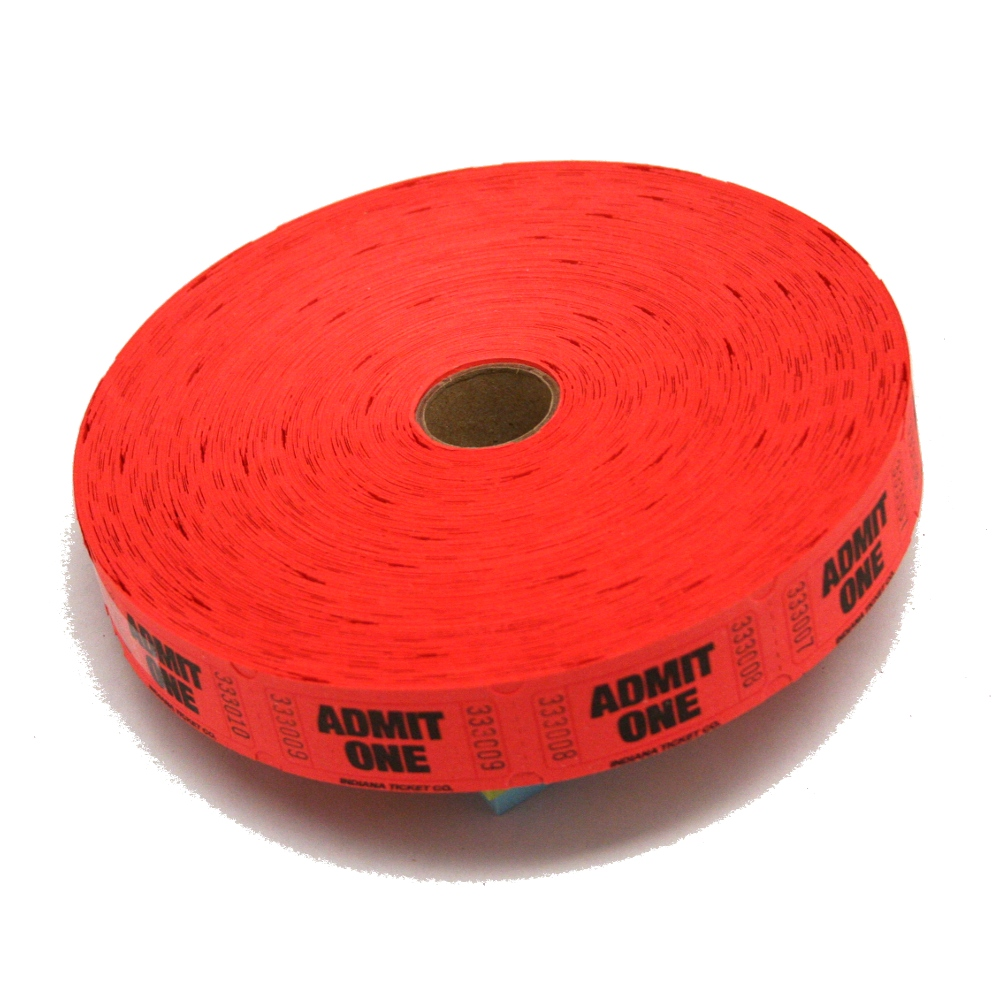 Ticket clipart roll ticket. Red admit one