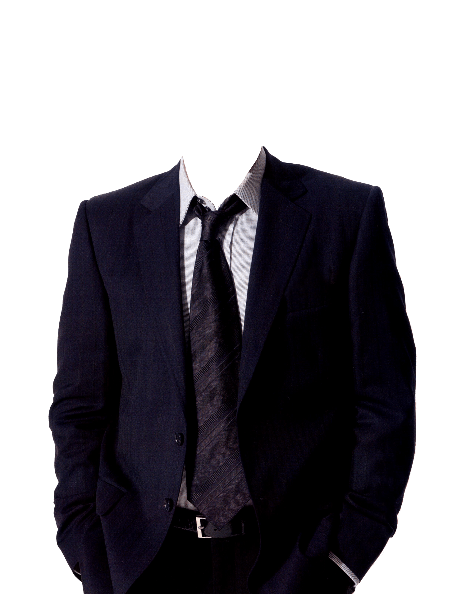 Suit transparent. And tie no head