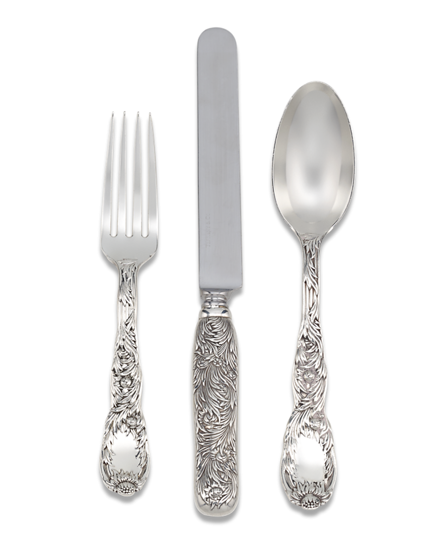 Tiffany & co png. Chrysanthemum flatware service pieces