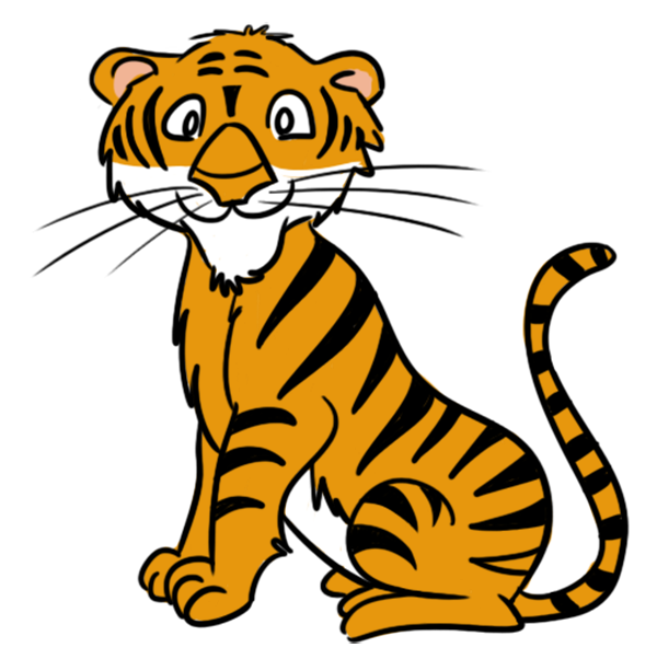 Tigers drawing kid. Free cartoon clipart pinterest