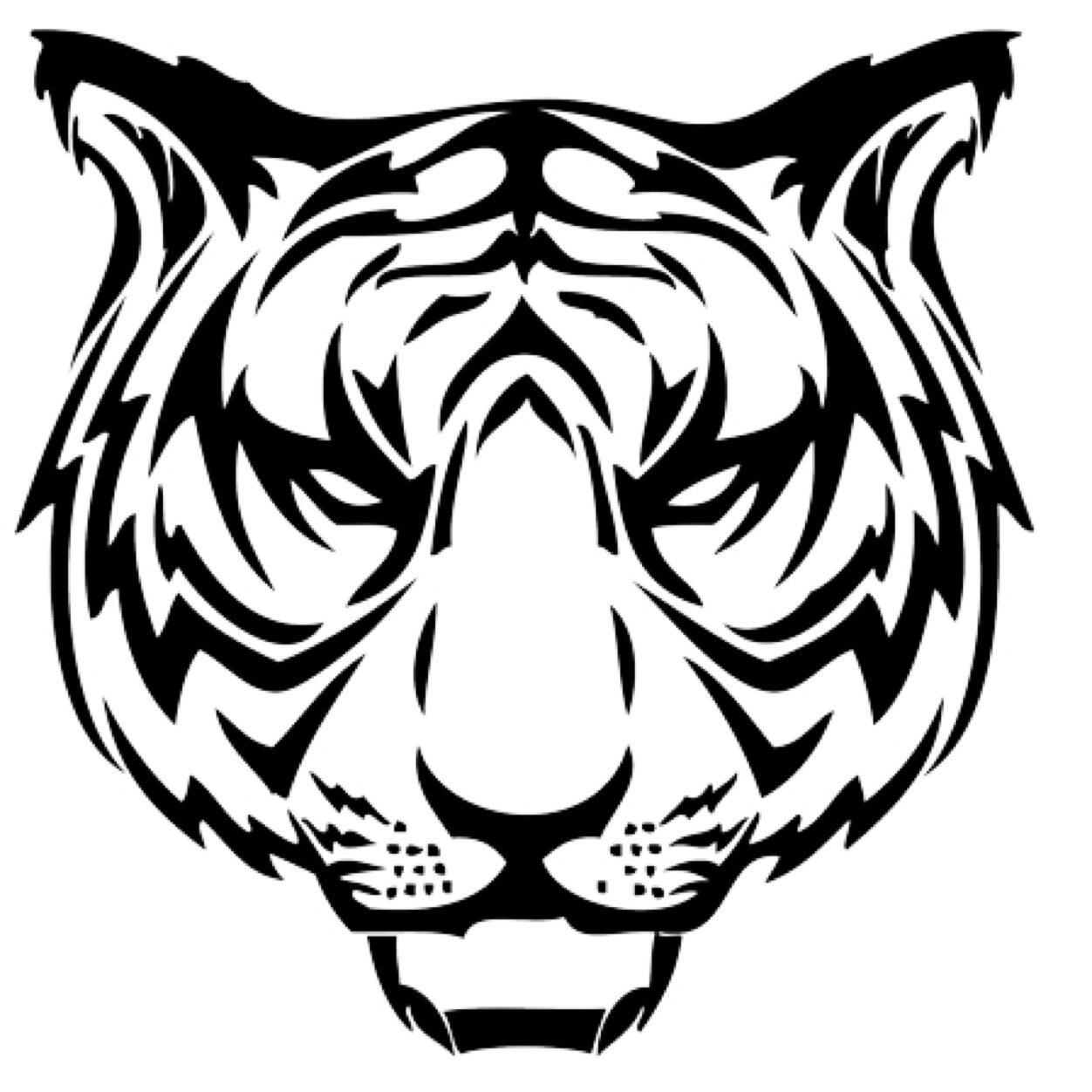Tiger clipart face. Silhouette at getdrawings com