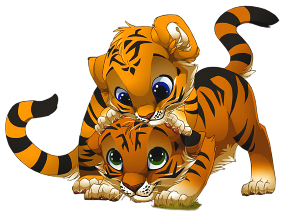 Tiger clipart png. Cute little tigers cartoon