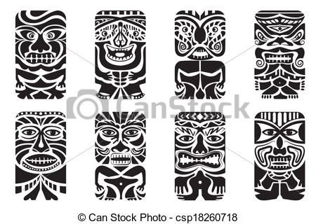 Tiki clipart. Mask easy to edit royalty free