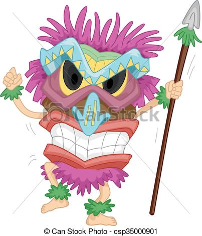 Native mask costume spear. Tiki clipart pink picture transparent library