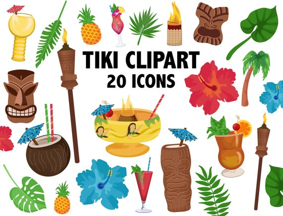 Tiki clipart tiki drink. Cocktail hawaii luau drinks