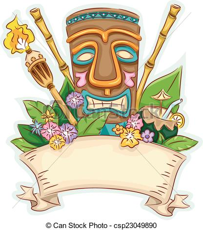 Tiki clipart. Compscanstockphototiki banner drawingcsp space royalty free stock