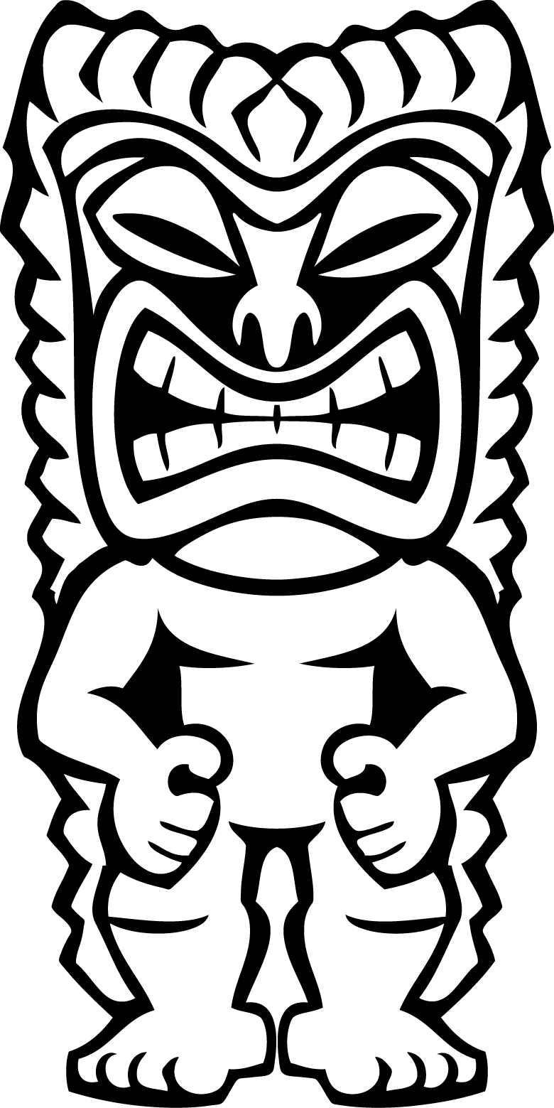 Akuma drawing tiki mask. Hawaiian clip art clipart