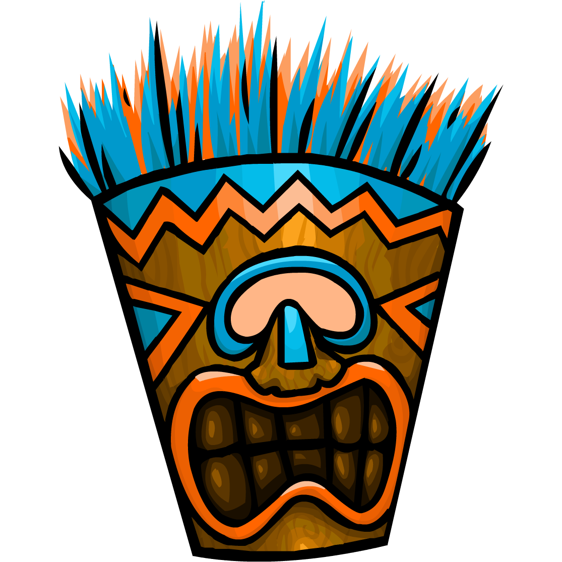 Tiki head png. Image bluetikimask club penguin