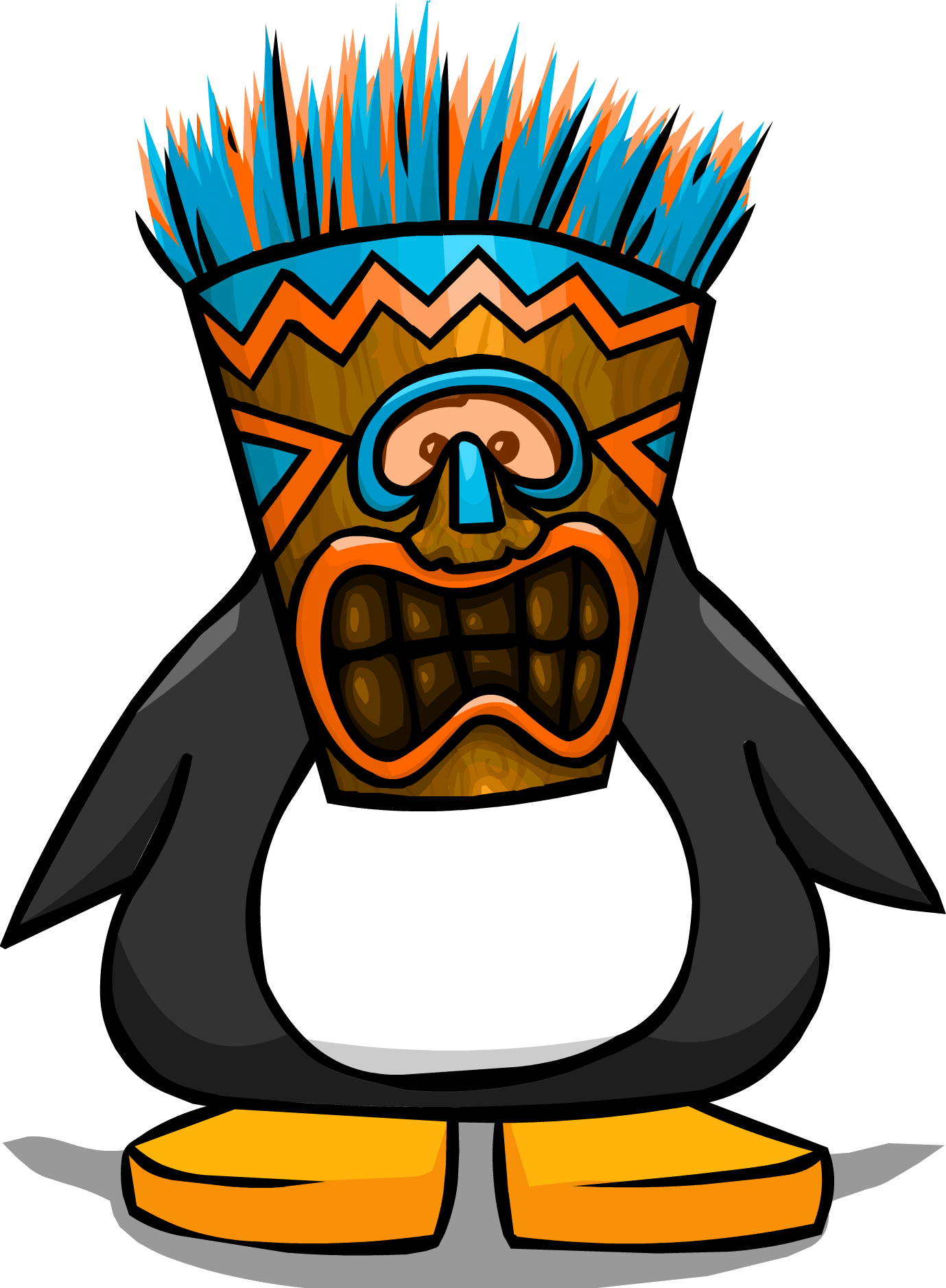 Tiki mask png. Image blue from a