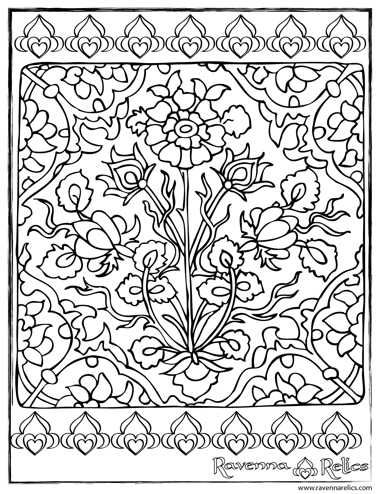 Tile drawing design. Isnik ottoman ceramic ravenna