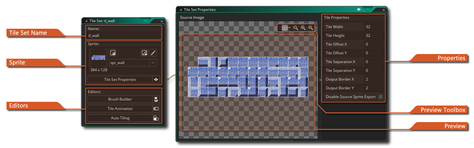 Tile drawing space. The set editor