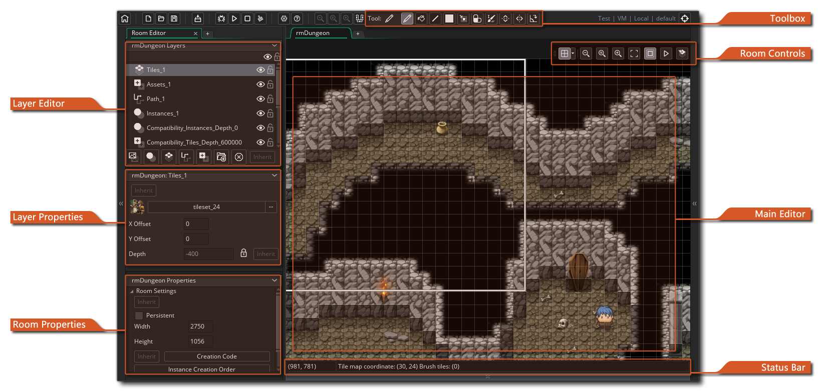 Tile drawing space. The room editor
