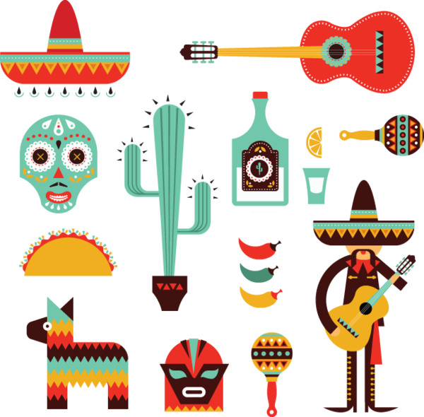 decorative mexican icons. Brunch vector folk image
