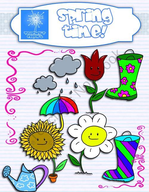 Time clipart teacher. Spring and borders product