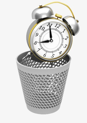 Time clipart waste time. Garbage basket throw away