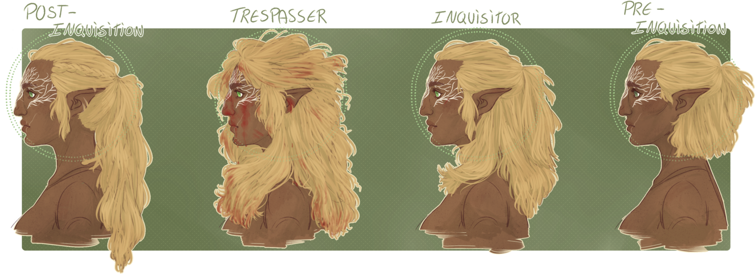 Timeline drawing hairstyle. Dai arla lavellan by