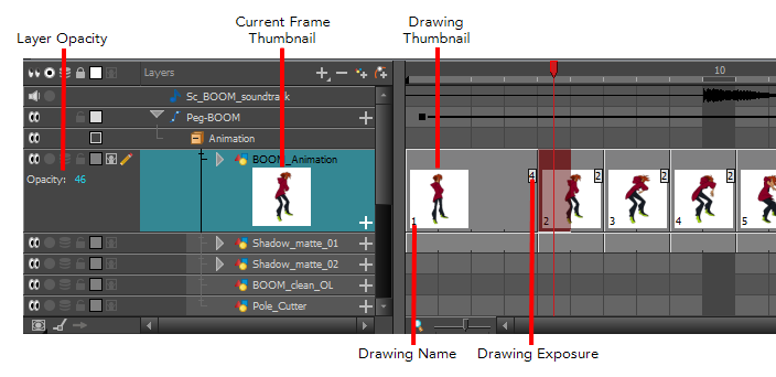 Timeline drawing short. View toon boom learn