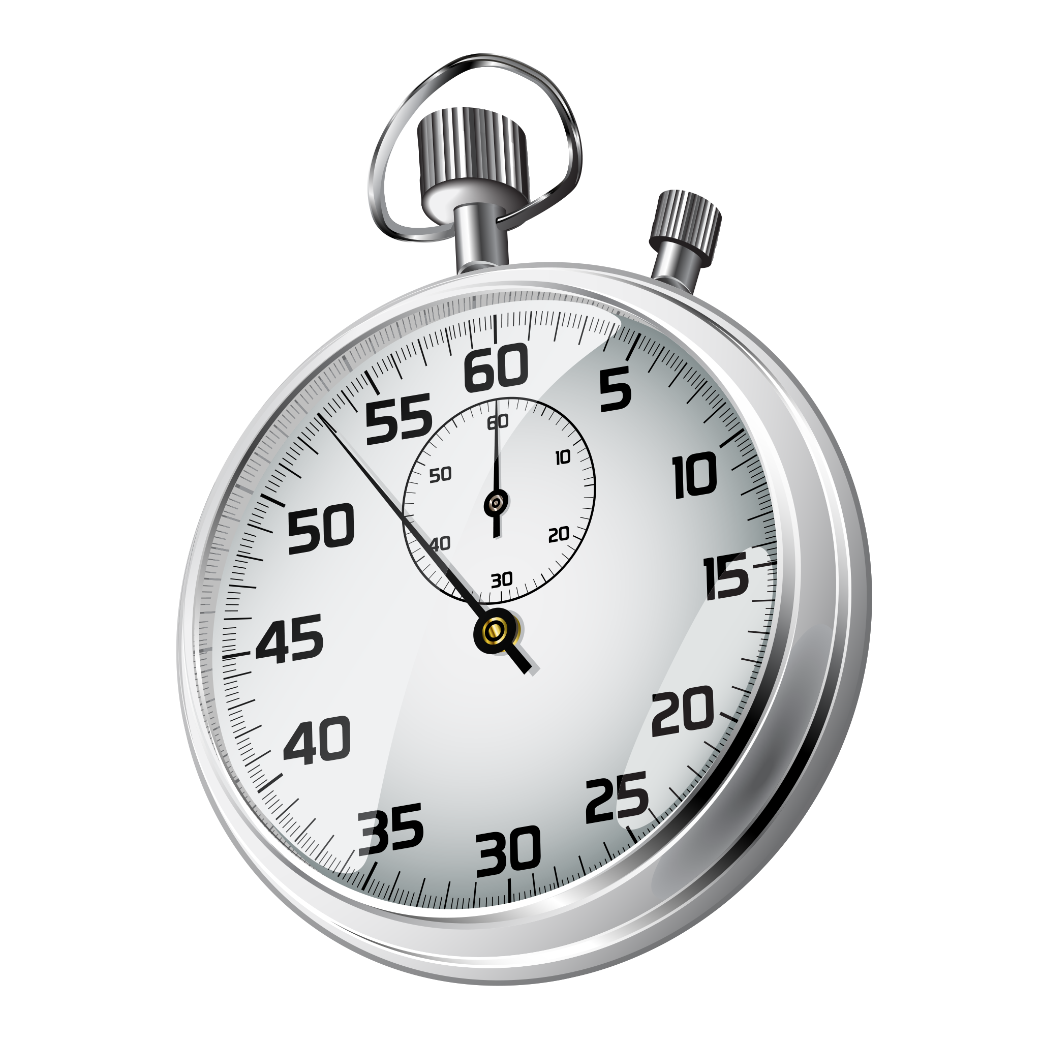 Realistic stopwatch on background. Transparent timer graphic library