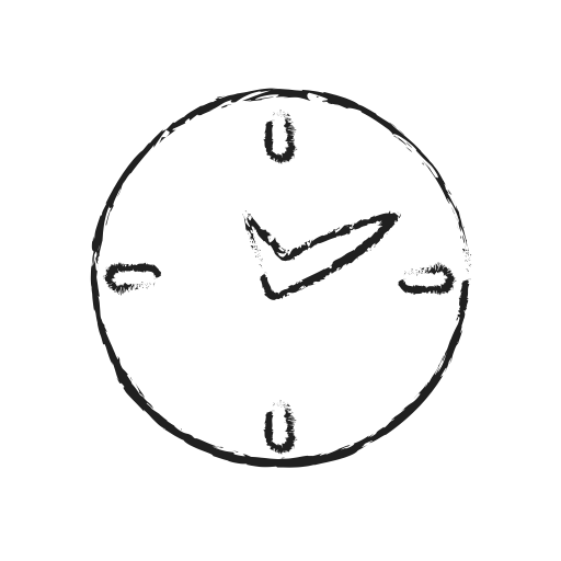 Timer drawing clock. Social messaging productivity by