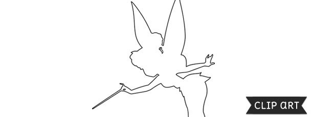 Tinkerbell clipart template. Silhouette
