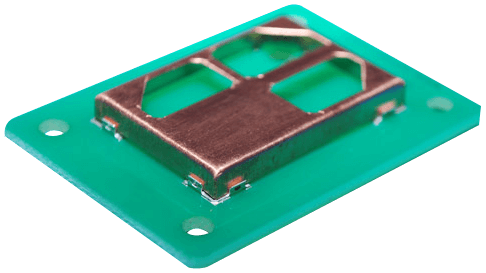 Tiny clip metal. Corner for mounting pcb