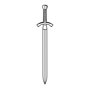 Tiny sword. Black and white clipart