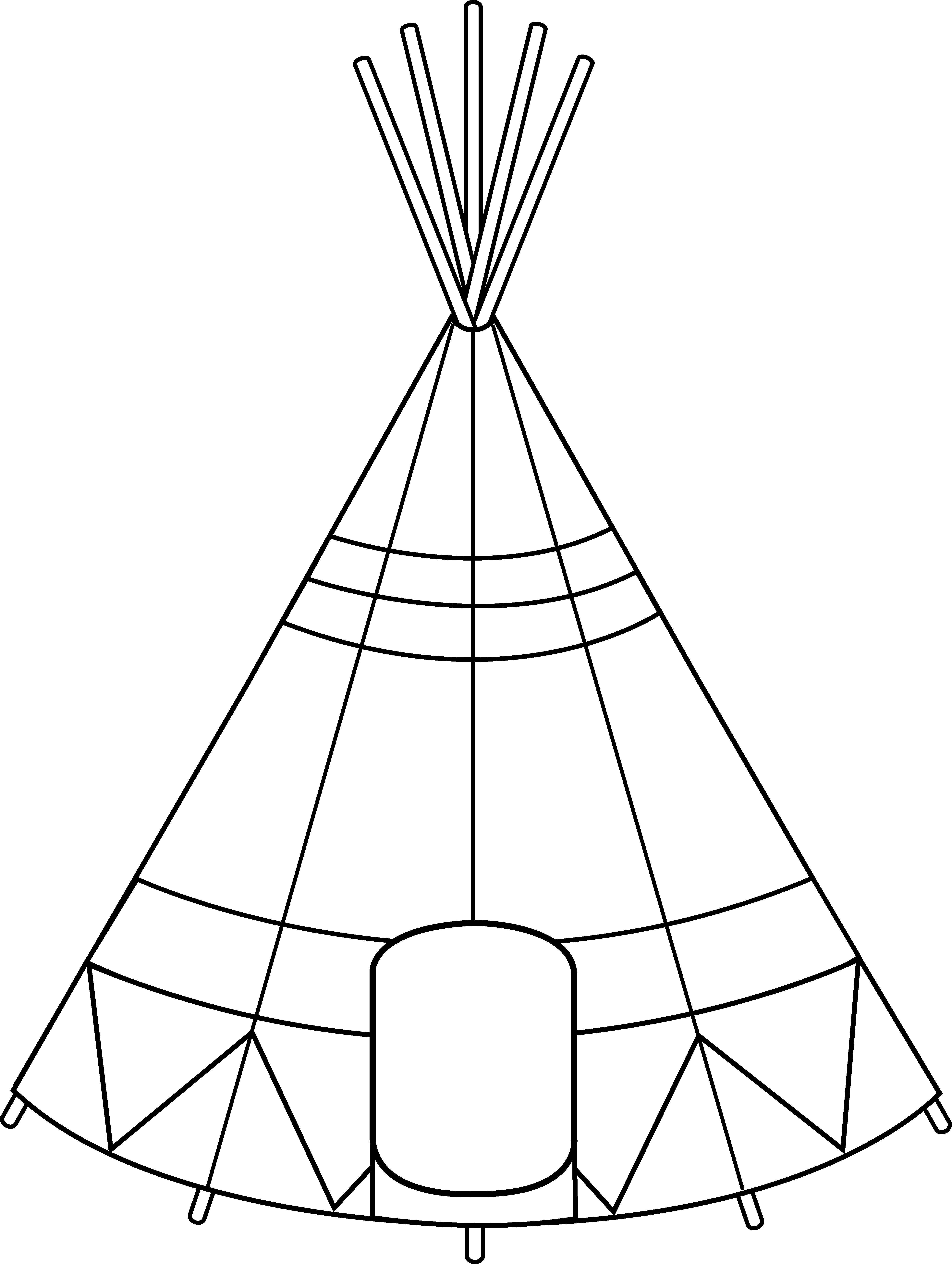 Tipi drawing. Teepee tent coloring page